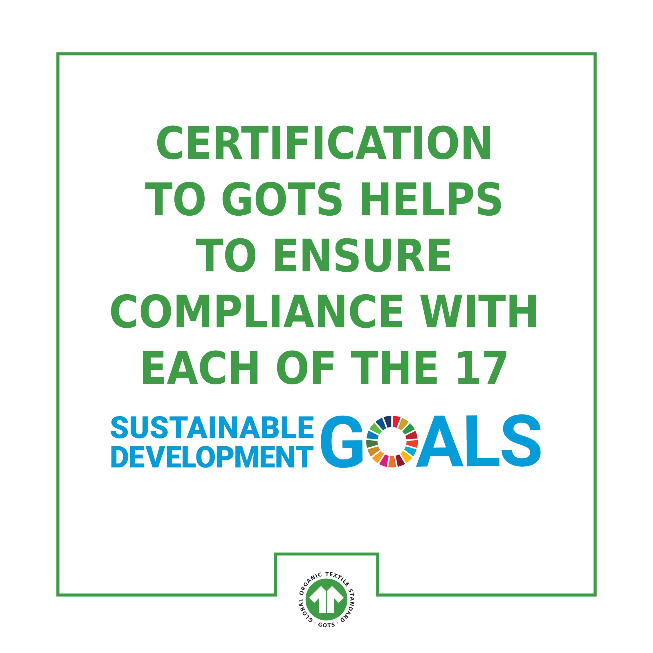 Graphic how GOTS supports the 17 Sustainable Development Goals